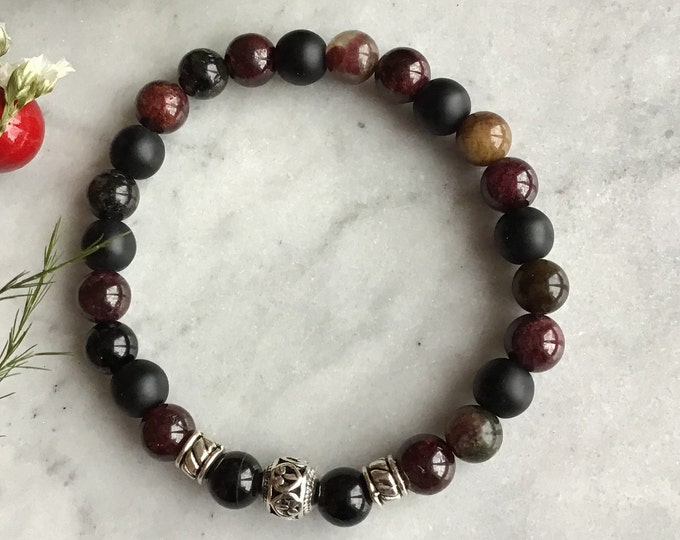 Boys bracelet grenat onyx in tourmaline black