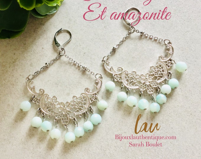 creoles silver amazonite woman creoles, creole silver mothers day gifts, boho creole jewelry