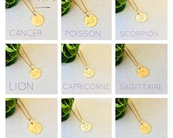 constellation chain astrological sign Swarovski Crystal, capricorn constellation jewelry, fish sign jewelry, constellation necklace