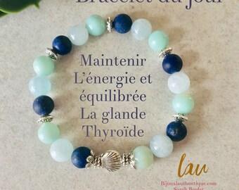 Amazonite and aquamarine lapis lazuli stones bracelet for balanced and great thyroid activity, thyroid gland jewelry, stone jewelery