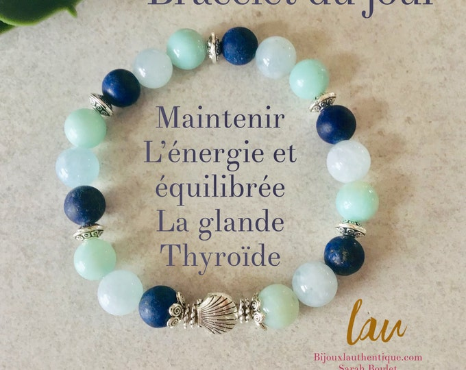 Amazonite and aquamarine lapis lazuli stones bracelet for balanced and great thyroid activity, thyroid gland jewelry, stone jewelery