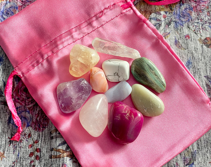 Hide French Crystal kit, box of 20 stones, stone discovery box, set of 20 stones to discover lithoterapie, rolled stone, rough stone