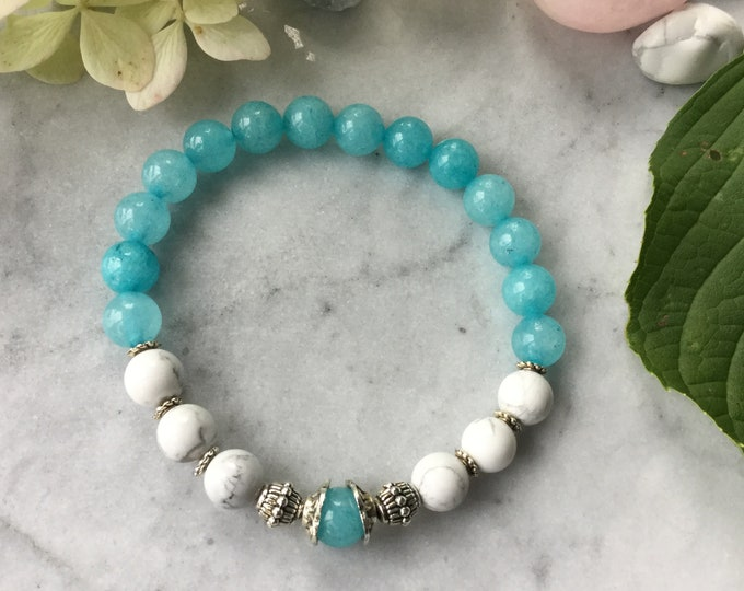 Women bracelet turquoise, white pom poms, fall 2018, pastel jewelry, stones, rose quartz bracelets, Howlite, wood, gifts for her,