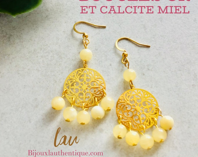 Gold medal and yellow calcite earrings, mothers day gifts, bohemian gold jewelry for women, honey yellow calcite stone