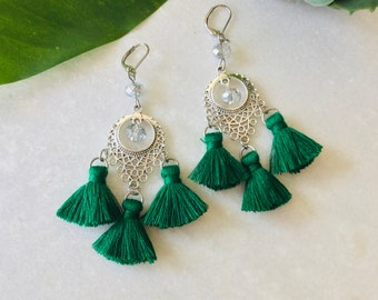 Bohemian pompom earring, beautiful earring fringe 20 color choice, woman christmas earring