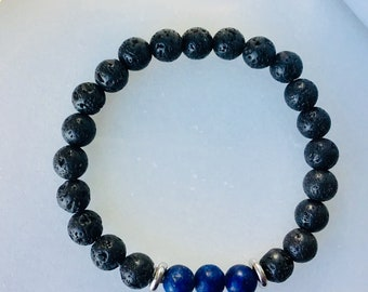 Boys bracelet black men bracelet oil diffuseur jewelry men bracelet oil diffuseur tiger stone, lapis-lazuli, agate mousse