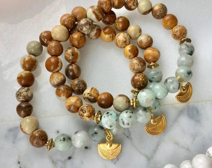 Jewelry jaspe kiwi Green howlite for women in medail argent sun