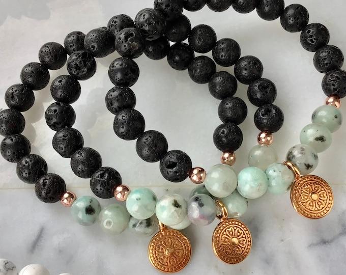 Bracelet essentiel oil black stone jaspe kiwi Green gold pink hématite pink women stvalentin