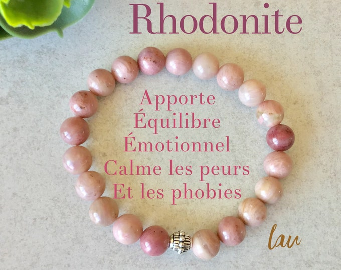 rhodonite bracelet benefits, pale pink rhodonite jewelry, mala rhodonite, rhodonite stone benefits, rhodonite jewelry