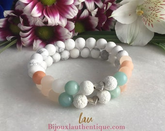 white essential oil shampoo, pink matte aventurine bracelet, pink aventurine essential oil diffuser, lava stone jewelery