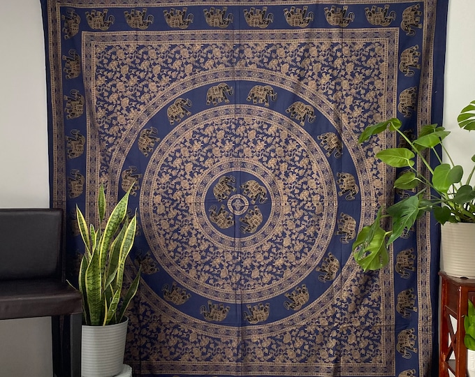 Mandala wall tapestry and blue elephants or Burgundy