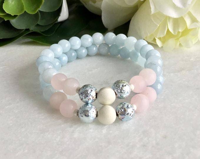 French Hide Aquamarine Maternity Bracelet, White Lava Stone, Pregnant Woman Bracelet, Gift for Woman Shower, Rose Quartz Bracelet