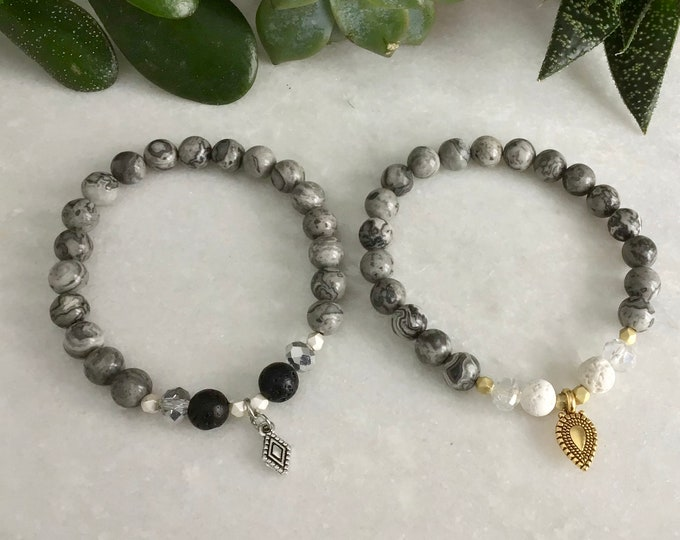 Mapstone and hematite stone diffuser bracelet choice of gold or silver gold colors with AB crystal or ori, christmas jewelry, women's jewel