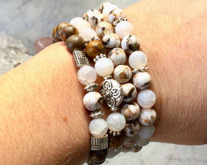 Bracelets agate chrysanthenum, earth color ground bracelet, gifts woman collection autumn 2018 caramel vanilla, matte agate square