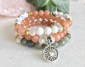 Moonstone sunstone labradorite Bracelet Moonstone Jewelry, Moonstone Bracelet, Feminine Stone, Mala Meditation