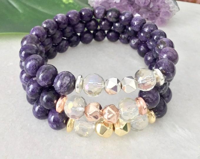 bracelet charoite, crystal, hématite