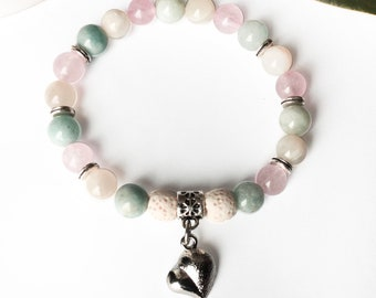Maternity aigue-marine, quartz pink, moon stone