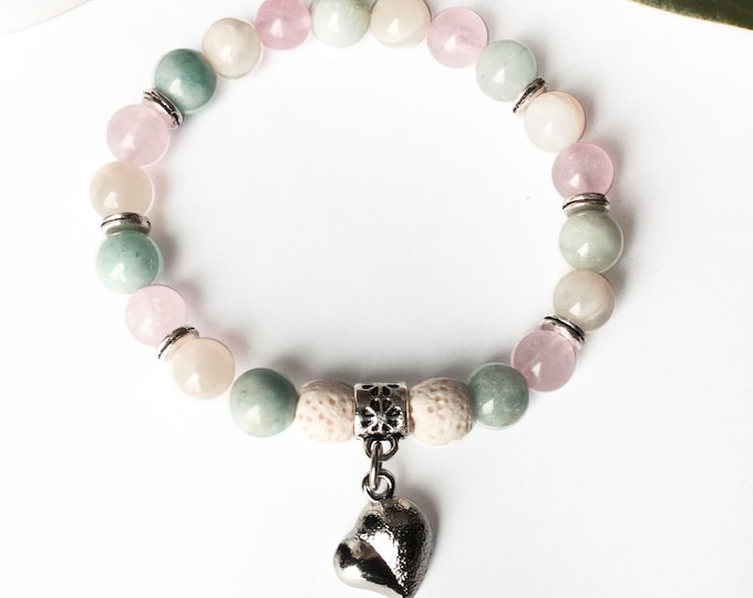 Maternity aigue-marine, quartz pink, moon stone