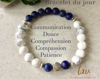 Bracelet for women lapis lazuli and howlite seashell, shell jewelry, lapis lazuli stone, stone benefits, shell bracelet