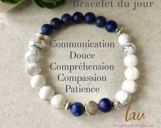 Bracelet for women lapis lazuli and howlite seashell, shell jewelry, lapis lazuli stone, stone benefits, shell bracelet