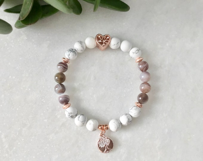 Hide French White agate bracelet and rose gold hematite, white agat mala bracelet stones bracelet stones bracelet, meditation bracelet, mala