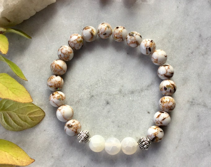 Bracelets agate chrysanthenum, earth color ground bracelet, gifts woman collection autumn 2018 caramel vanilla, matte agate square