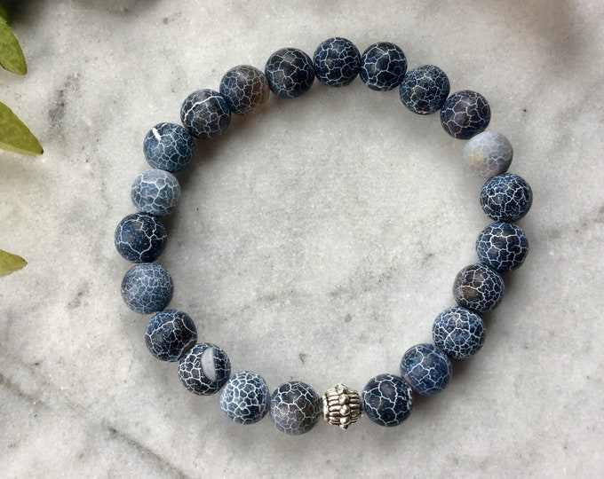 Bracelet agate woman fire mat and howlite with coiled star you, star woman gift, winter woman jewelery, christmas gift, semi precious stone
