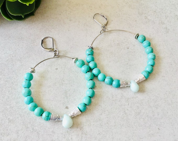 Turquoise and amazonite earrings, creole silver earrings for woman, coral amazonite earrings, summer creole jewelry