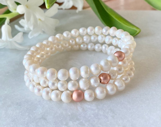 White gold freshwater pearls and pink gold hematite bracelet, freshwater pearls and pink gold hematite jewelry, christmas gifts, women's gif