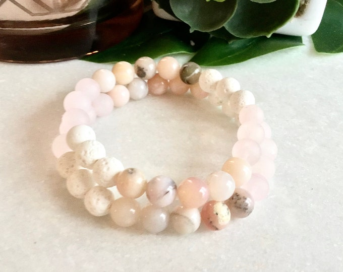 zebra jasper, exotic jasper, porcelain jasper, gray and white peach pink jasper bracelet, tassel bracelet, elephant charm bracelet