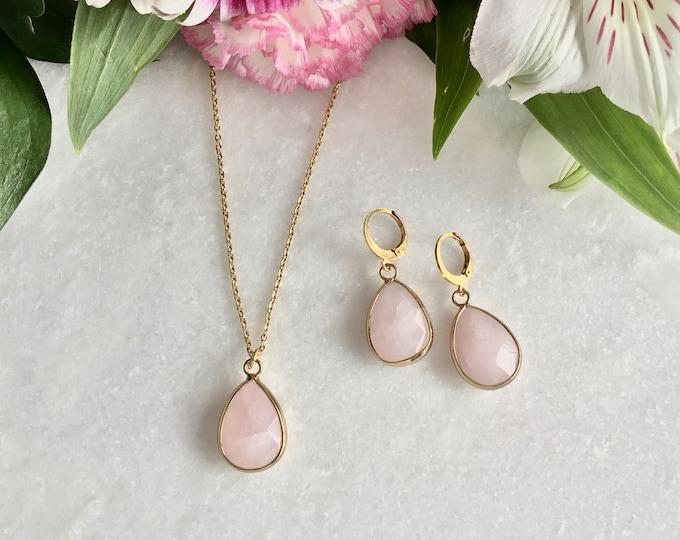 Quartz rose earrings