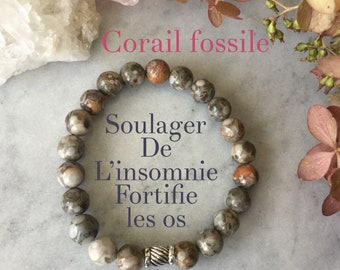 Bracelet women coral fossil coral bracelet, fossil coral, Earth bracelet, silver, gift, mala, yoga, meditation, litho