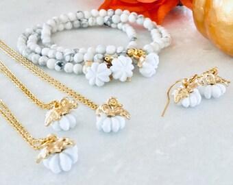 Hide French Pumpkins White, pumpkin charm jewelry, gold pumpkin earrings, Halloween necklace, halloween jewelry, halloween bracelet