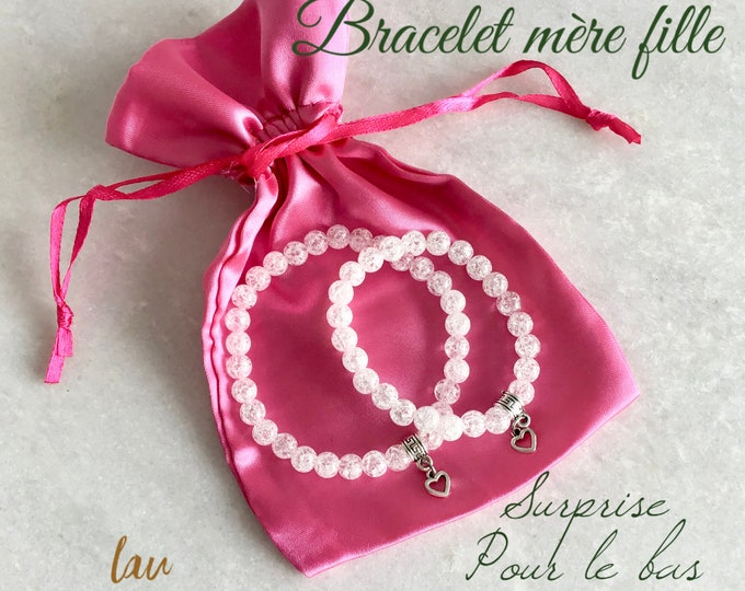 mother bracelet, mother gift, mother daughter gift, cracked quartz, white bracelet, mother daughter jewelry, white, pink, jade, rose quartz