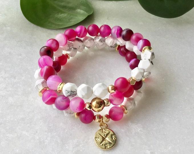Raspberry tiger eye bracelet Cornaline day bracelet woman gift citrine rose lotus flower bohemian bracelet mala meditation benefit