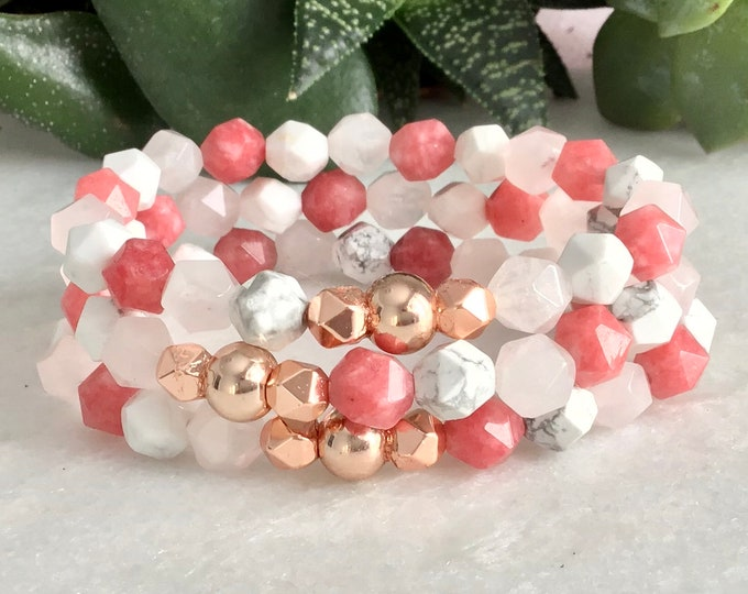 Howlite bracelet white quartz pink ind hématite pink gold