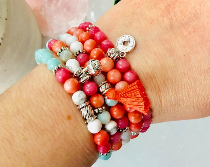2019 summer bracelets for women pink and orange coral, amazonite howlite jewels orange coral pompons for women, gifts stvalentin jewels