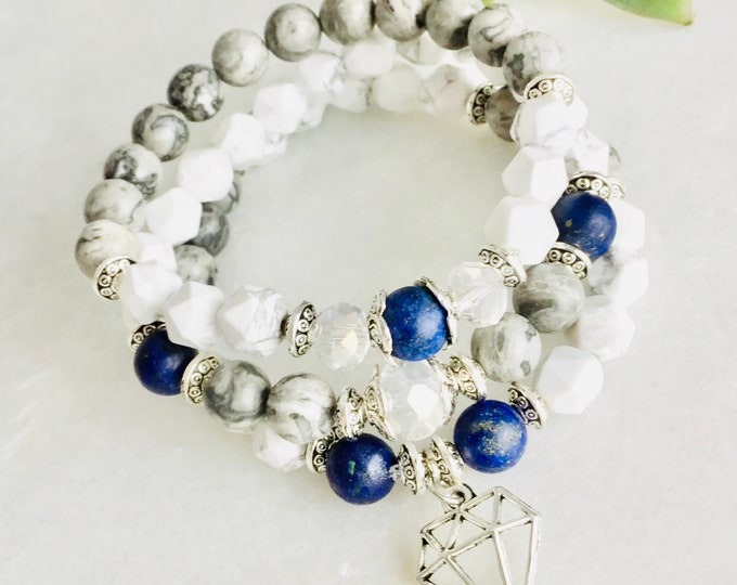 Cold polar contest wave set, mapstone stone bracelet, faceted howlite and lapis lazuli