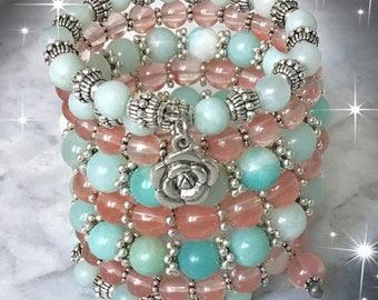 Bracelet wrap or sprigne cherry quartz semi precious stones and amazonite, multinrang women, women gift bracelet women
