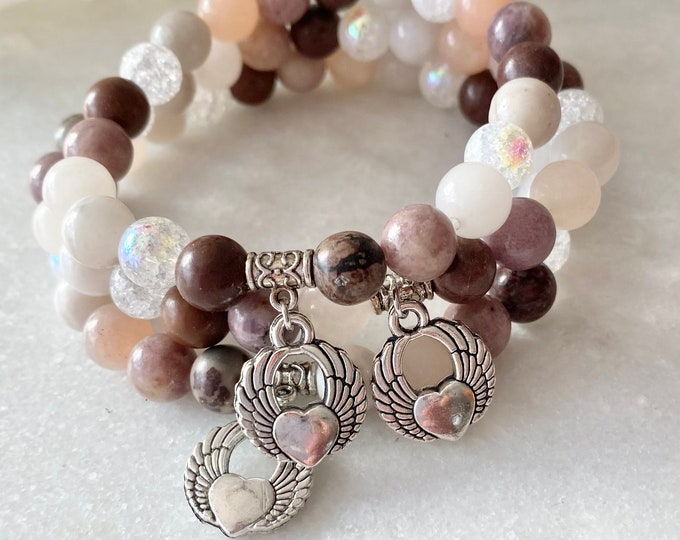 French Hide Set of 5 bracelets, zebra jasper, elephant tassel jewelry, pink matte aventurine jewelry, clear cracked quartz, jasper kiwi