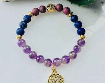 140 Bracelet thousand and one nights wave of spring 2019 competition, bracelets woman tree of life lapis lazuli amethyst rose and gold quart