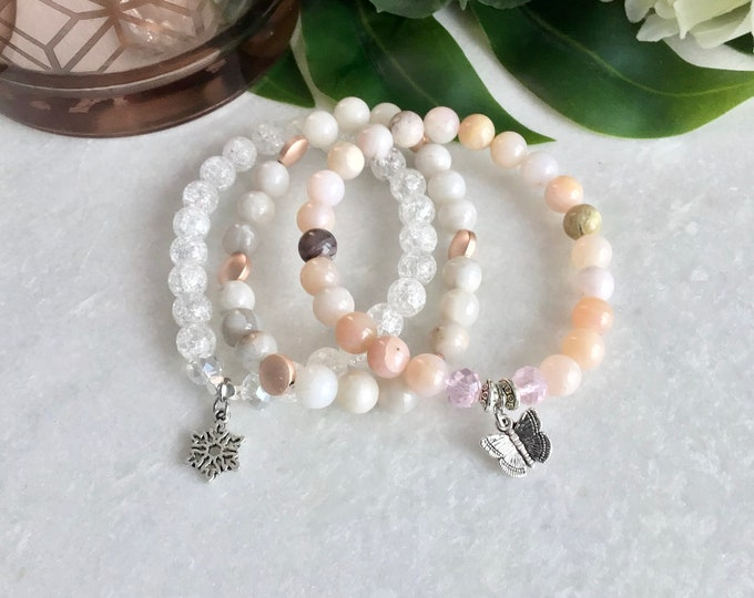 Pink opal bracelet with pink crystal and silver butterfly, pink opal stone, pink opal jewelry, butterfly jewelry, pink opal benefits