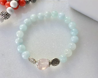 Maternity aigue-marine, quartz pink, moon stone  aquamarine quartz rose