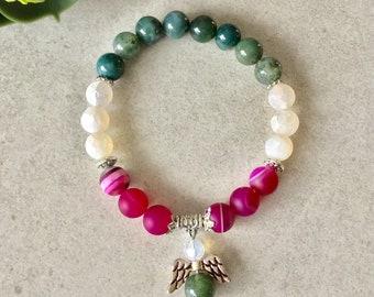 guardian angel bracelet, angel jewelry, angel charm, agate agate white agate rosé fuschia bracelet for women, women gift
