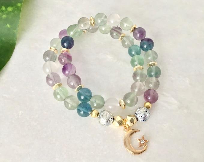 fluorite bracelet benefits, jewelry fluorite benefit, fluorite Mala meditation benefits,