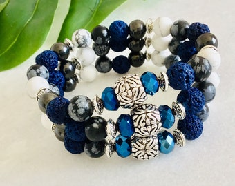 Hide French Snow Obsidian Bracelet, Navy Essential Oil Diffuser, Howlite and Hematite, Women Christmas Gift Jewelry