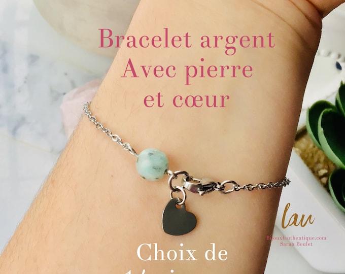 bracelet stenless steel jaspe kiwi Green for women