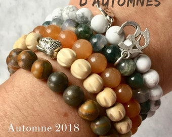Fall Gift women bracelet, autumn 2018 jewelry pastels women bracelets stone, rose quartz, Howlite, wood, gifts for her.