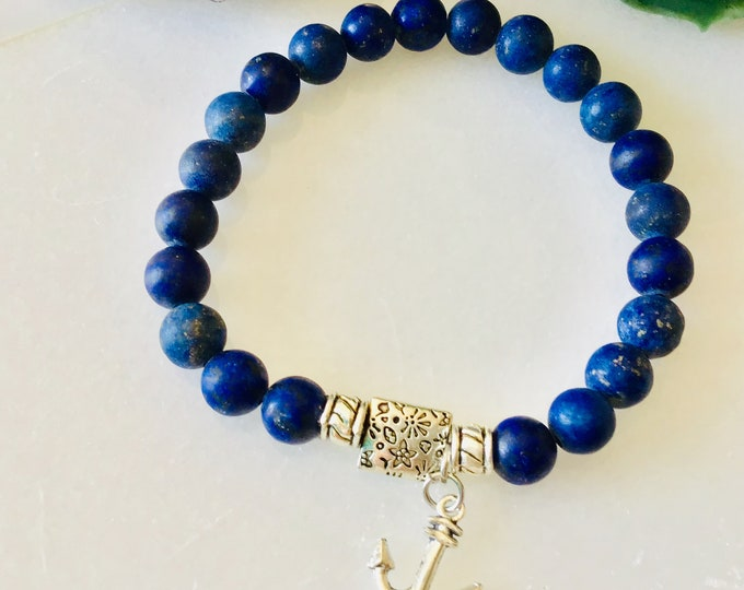 Bracelet lapis-lazuli encre marine