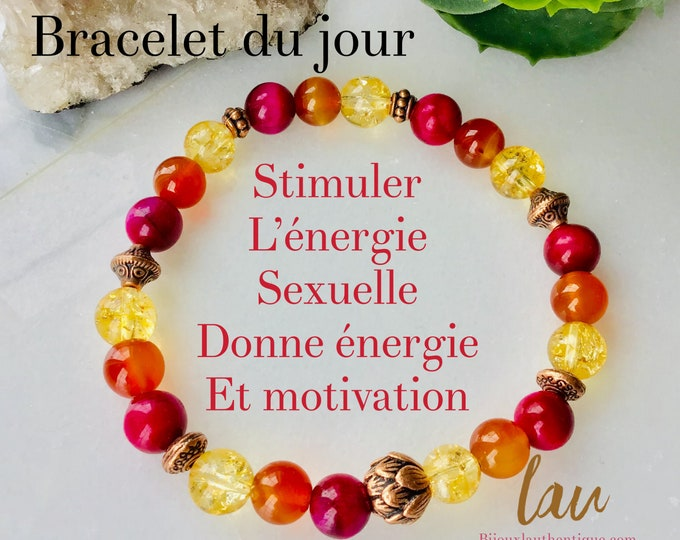 Raspberry tiger eye bracelet Cornaline day bracelet woman gift citrine rose lotus flower bohemian bracelet mala meditation benefit